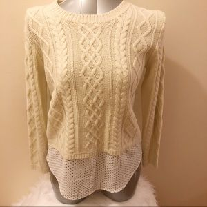 Monteau layered Cable Knit Sweater Size M NWOT